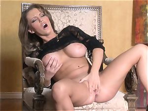 torrid Jenna Presley toying with her appetizing rosy moist snatch until she pops