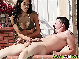 beautiful Latina milking her excited guy