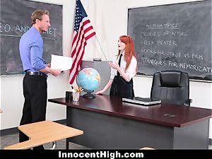 InnocentHigh - cute ginger-haired schoolgirl plows Drama schoolteacher