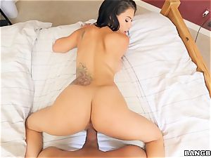 Peta Jensen feasting on a yam-sized man-meat