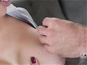 Drunken dude and his hottest pal fuck his busty dirty whore-wife Chessie Kay