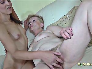 granny enjoys 3some hardcore penetrate