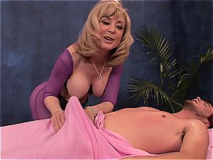 Mature messy dame doggystyled by youthfull stud