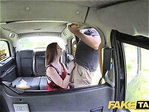 fake cab Olive skin ginger-haired in underwear