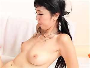 asian sweetie Marica Hase bj's and pokes a big black cock