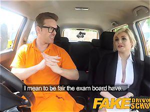faux Driving school Posh insatiable huge-boobed examiner