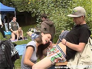 Outdoor orgy fucky-fucky during the garden soiree