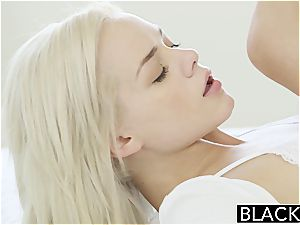 Elsa Jean can scarcely fit his black pecker inside her