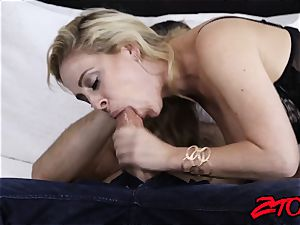 beautiful Cherie DeVille orb fucks before getting torn up