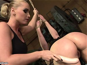 Kathia Nobili faux-cock pulverize the caboose of her friend