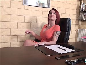 LA COCHONNE - huge-chested French babe nailed at interview