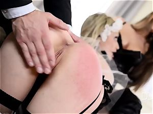 submissive subjugated Chessie Kay gets disciplined and penetrated by her master and his wifey