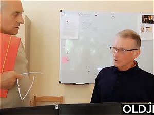 old youthful - Just revved 18 stunner drills puckered elderly guy