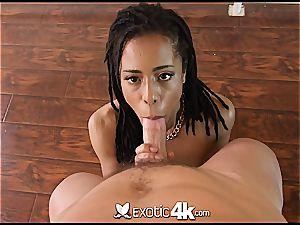 Pettite dark-hued nubile Kira Noir takes a spunk-pump