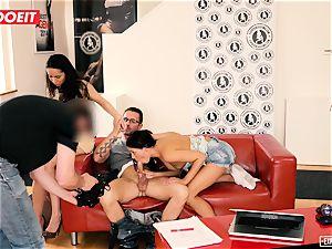 european babes love anal invasion threeway during audition
