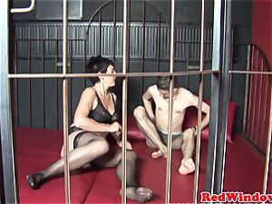 Dutch stockinged call girl anally finger-tickled