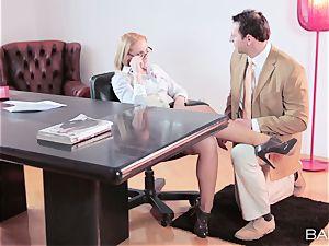 Kathia Nobili taking a length in the office