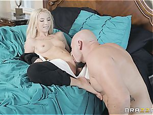 tiny kitten Kenzie hardly fits stepbro's spear in her facehole