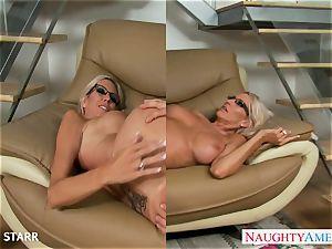 ash-blonde stunner in glasses Emma Starr gives boob job