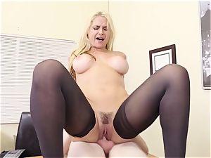 chesty blond chief Sarah Vandella entices youthfull employee