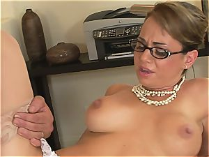 Holly West works rock-hard to get that man rod jizm all over her jaw-dropping glasses