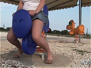 busty teenage Malina May frolicking outdoor