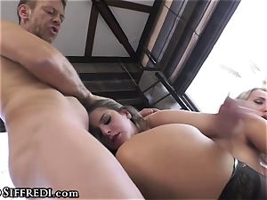 Rocco Siffredi ravages bungholes of two kinky stunners