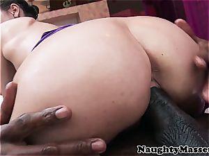 Riley caressing his dark-hued fuckpole
