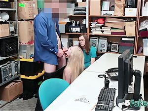 Emma gawps at her boyfriend while officer smashes her rigid