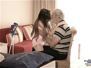 Therapy with old schlong for a sick nubile female