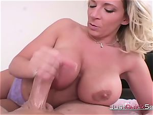 ash-blonde huge-chested cougar Gives awesome hand-job