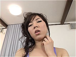 buxomy Jap gets her tights and cooter torn