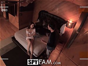 SPYFAM curious Step sista salivates over man-meat images