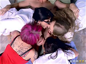 crazy clinic group lovemaking with Nicole Aniston and her friends