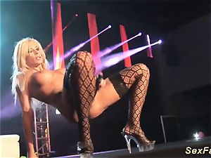 My huge-chested German stepmom bare on stage