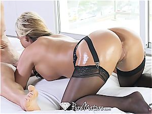 fabulous ash-blonde milf boinked in dark-hued underwear