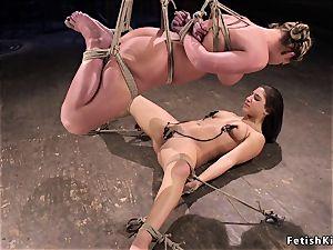 super-hot girl/girl frog-tied slaves lashed