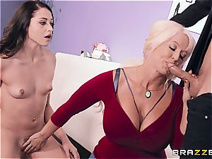big-titted mom helps stepdaughter during porn casting