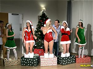 2 boys get the finest Christmas surprise with redheaded Amarna Miller and her two torrid pals Tricia teenager and Blanche Bradburry