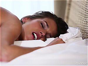 sensitive Silvie De Luxe masturbates him off on her stiff nips