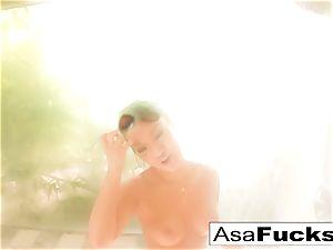 Asa Akira takes a scorching douche