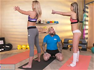 fitness apartments wild girls tempt ginormous spear gym trainer