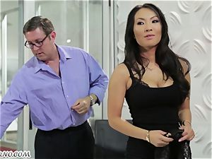 whorish asian assistant gets pummeled in the office